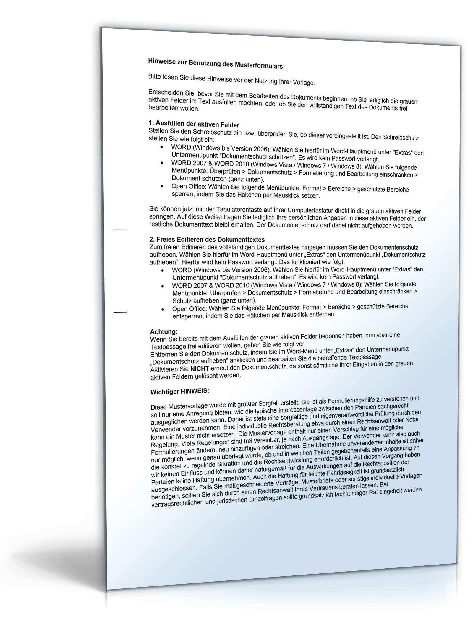 Ankundigung Modernisierungsmassnahmen Vorlage Zum Download
