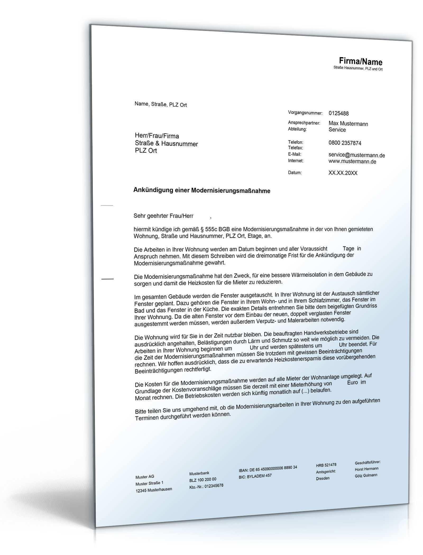 Ankundigung Von Modernisierungsmassnahmen De Musterbrief Download
