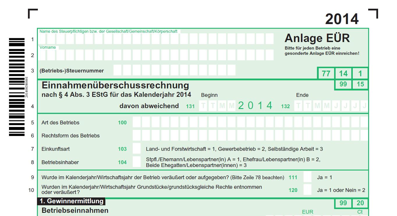 Anlage Einnahmenuberschussrechnung 2014 Eur Anderungen