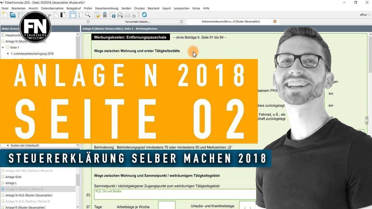 Anlage N 2018 Seite 2 Steuererklarung 2018 Selber Machen Werbungskosten Elster Ausfullen Youtube
