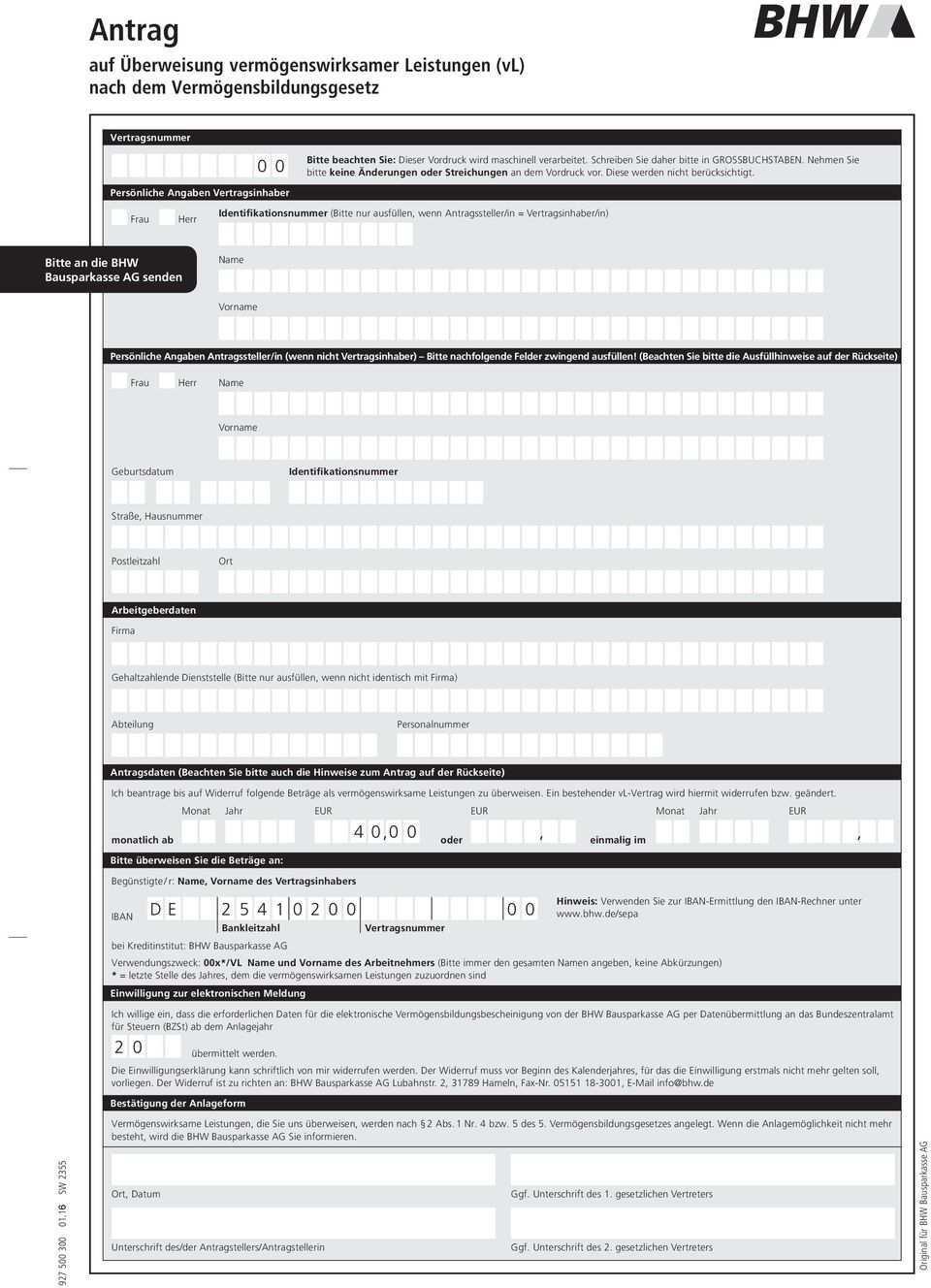 Antrag Auf Uberweisung Vermogenswirksamer Leistungen Vl Nach Dem Vermogensbildungsgesetz 4 0 0 0 De Pdf Kostenfreier Download