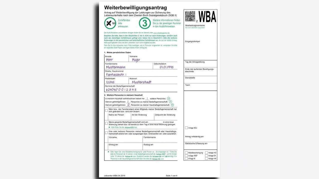 Weiterbewilligungsantrag Wba Ausfullen Jobcenter Rhein Neckar Kreis Youtube
