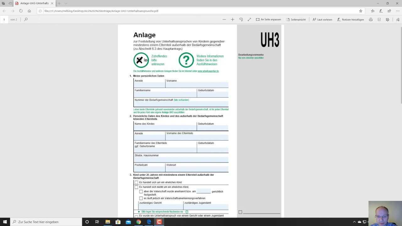 Alg Ii Antrag Anlage Uh3 Ausfullen Der Anlage Unterhalt Unterhaltsanspruch Youtube