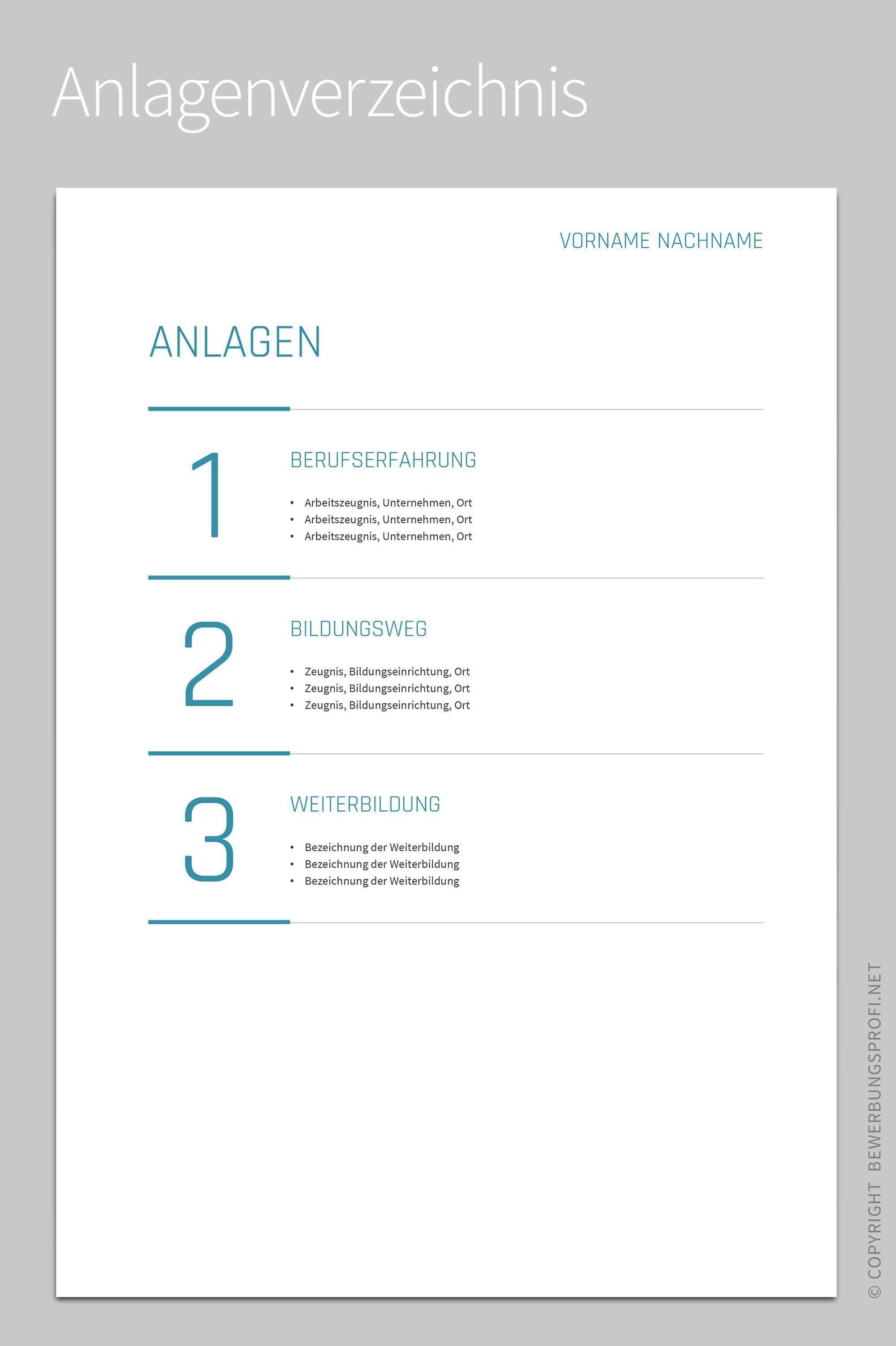 Anlagenverzeichnis Amelio Deckblatt Bewerbung Bewerbung Muster Vorlage Deckblatt Bewerbung