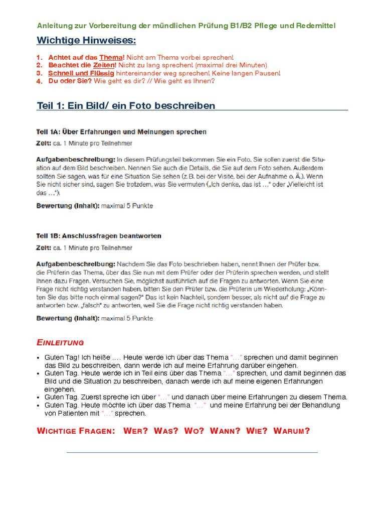 Anleitung Zur Vorbereitung Der Mundlichen Prufung B1 B2 Pflege Und Redemittel