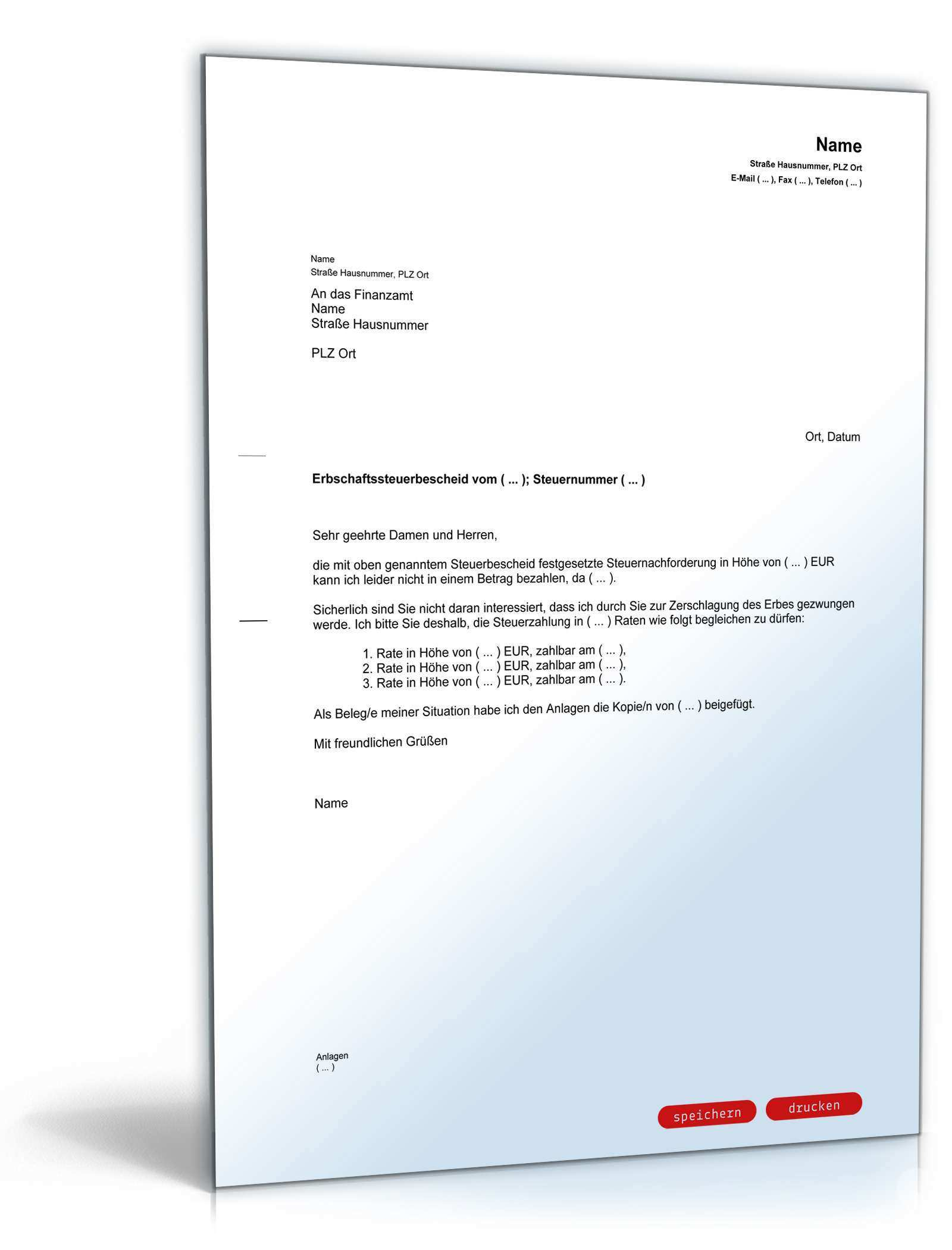 Antrag Ratenzahlung Erbschaftssteuer Muster Zum Download