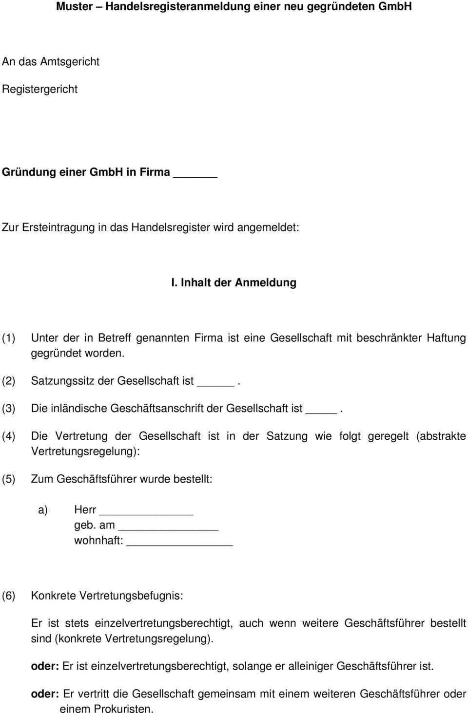 Muster Handelsregisteranmeldung Einer Neu Gegrundeten Gmbh Pdf Free Download