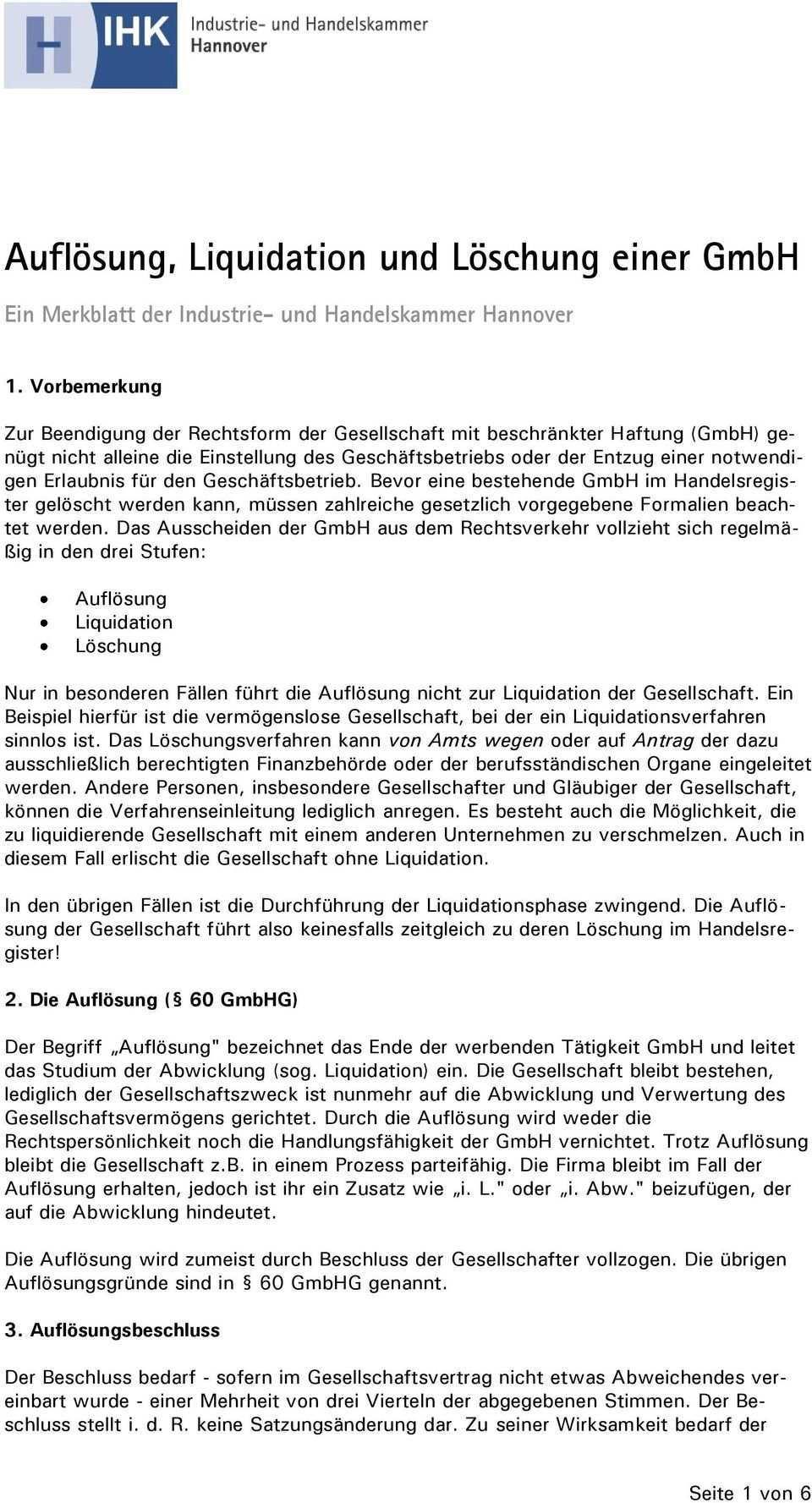 Auflosung Liquidation Und Loschung Einer Gmbh Pdf Kostenfreier Download