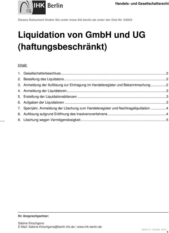 Liquidation Von Gmbh Und Ug Haftungsbeschrankt Pdf Free Download