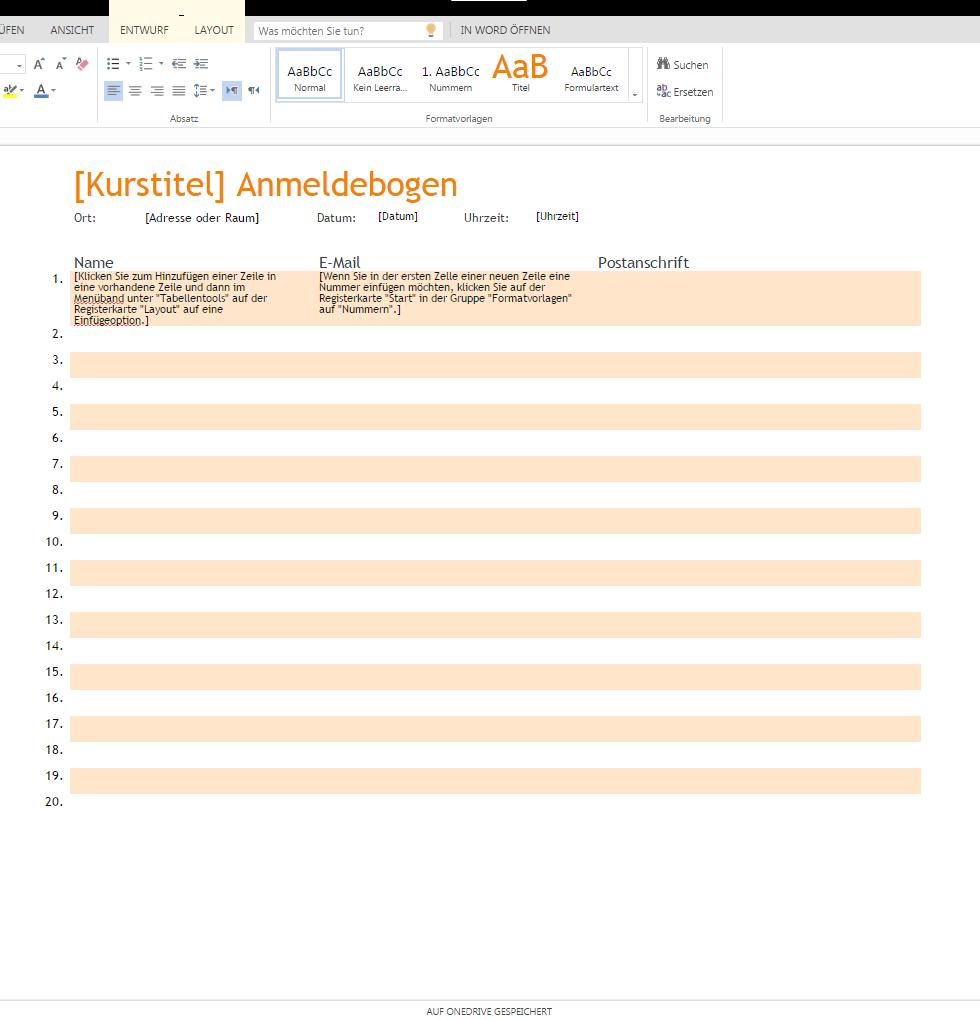 Anmeldebogen Zum Runterladen Wordvorlage De