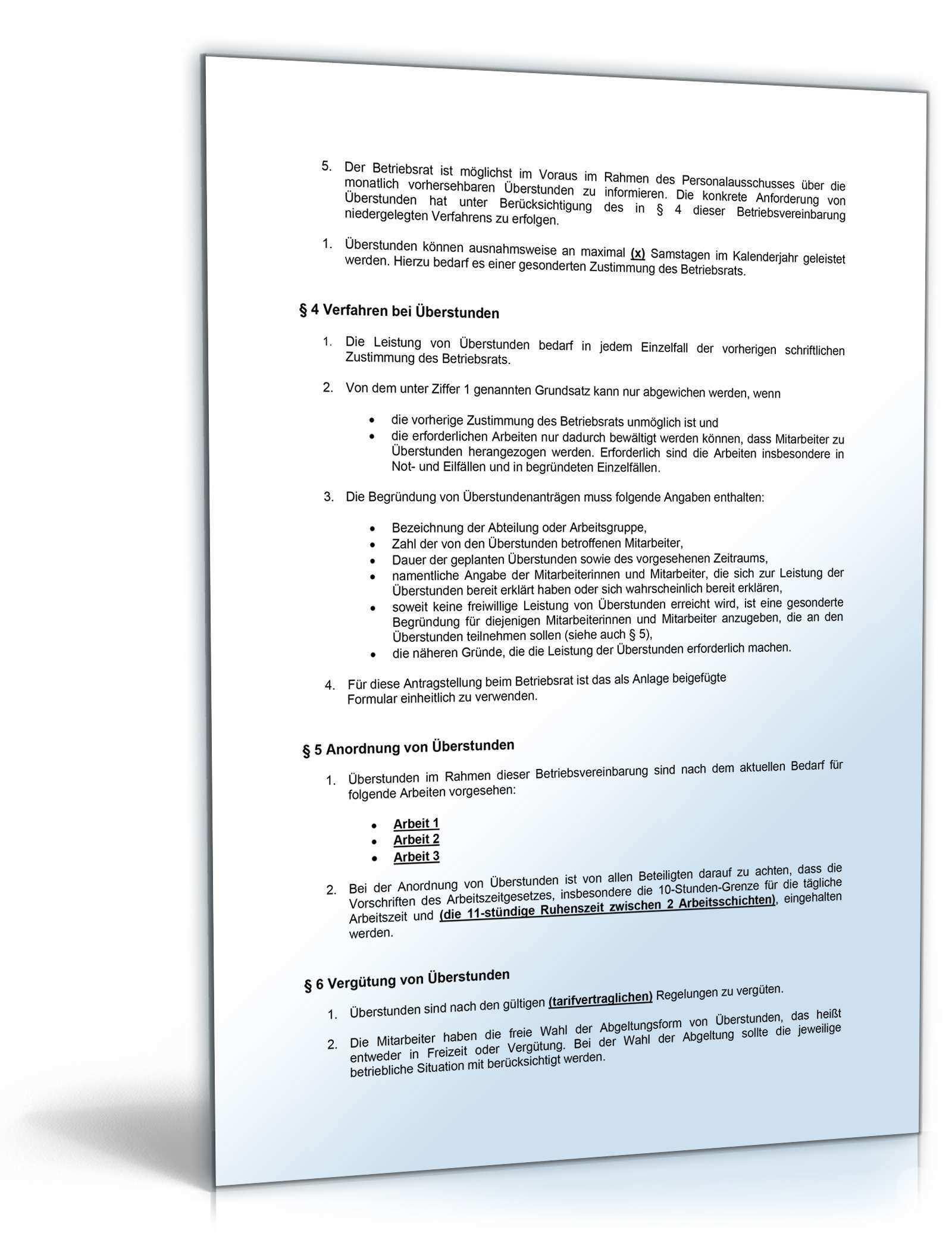 Betriebsvereinbarung Verlangerte Arbeitszeit Muster Vorlage Zum Download