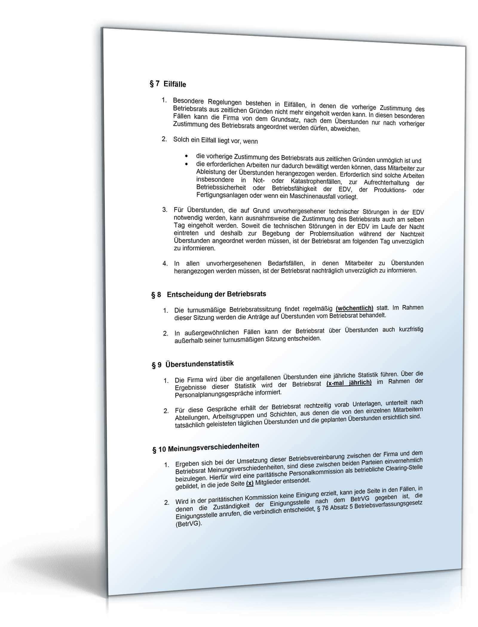 Betriebsvereinbarung Abgeltung Uberstunden Muster Vorlage Zum Dowload