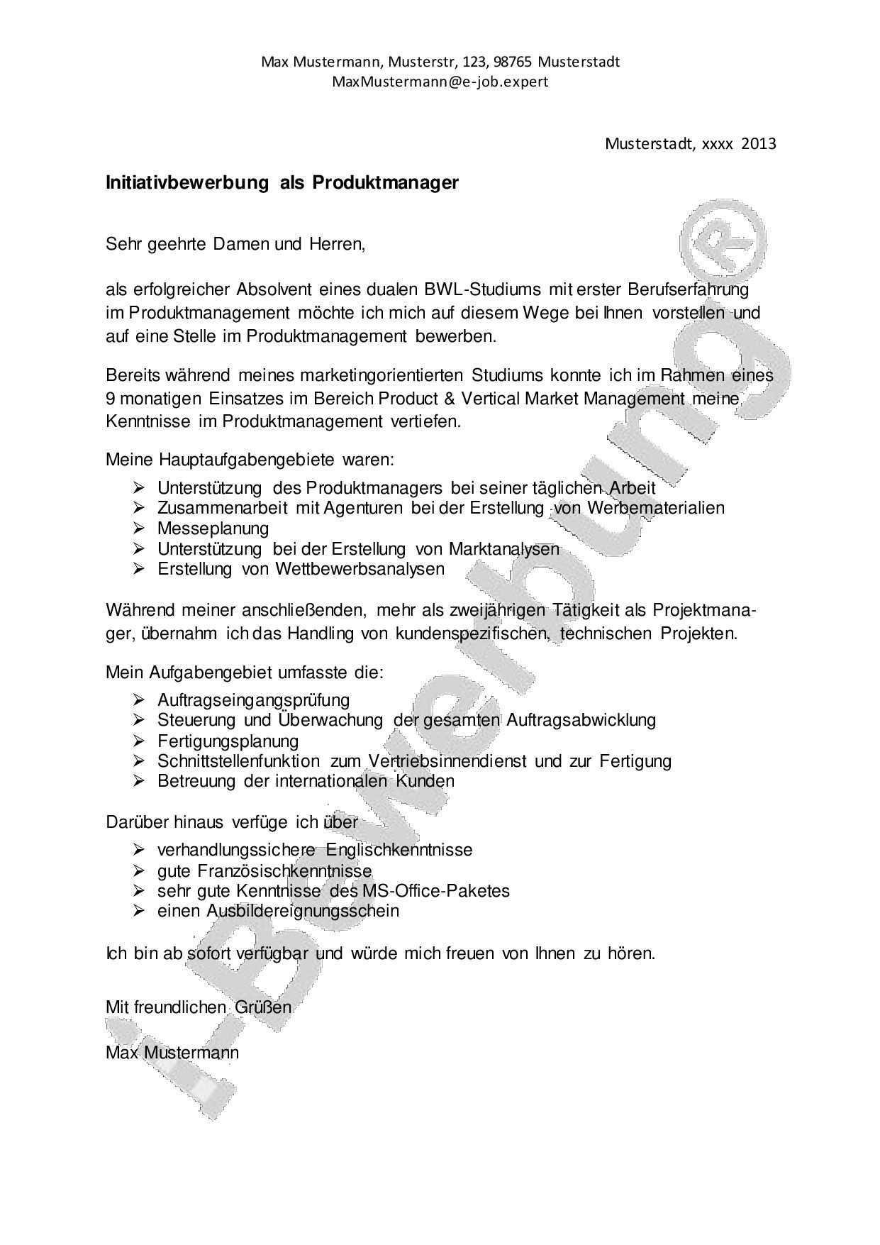 Vorlage Anschreiben Zur Initiativbewerbung Als Produktmanager Bewerbung Anschreiben Bewerbung Schreiben