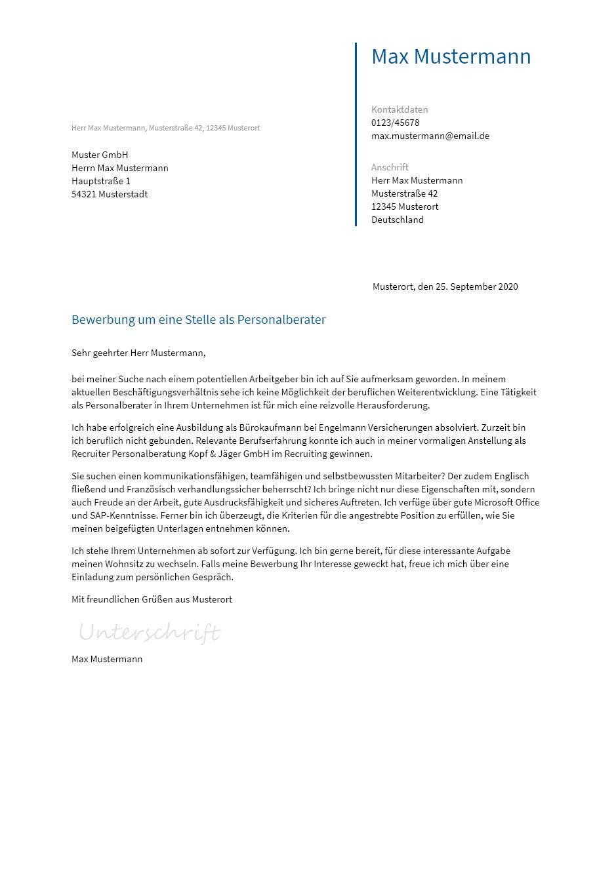 Bewerbungsvorlagen Als Personalberater Bewerbung2go