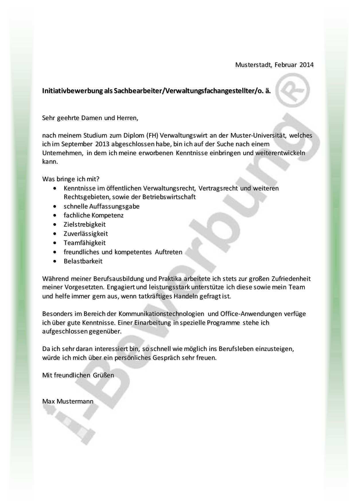 Muster Komplette Initiativbewerbung Als Verwaltungskraft Bewerbung Bewerbung Schreiben Deutsch Lernen Spiele