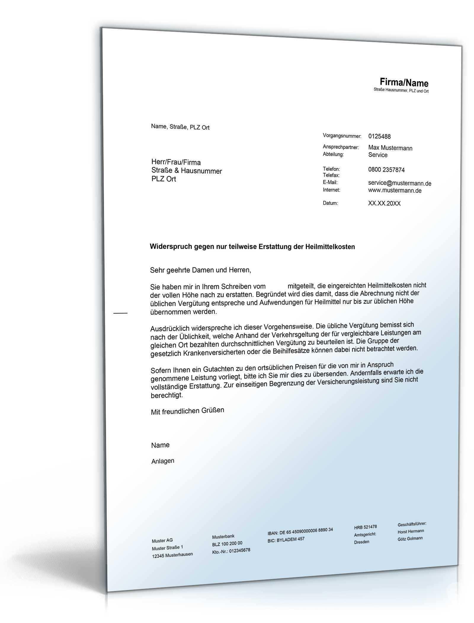 Widerspruch Gegen Ablehnung Durch Gesetzliche Krankenversicherung De Musterbrief Download