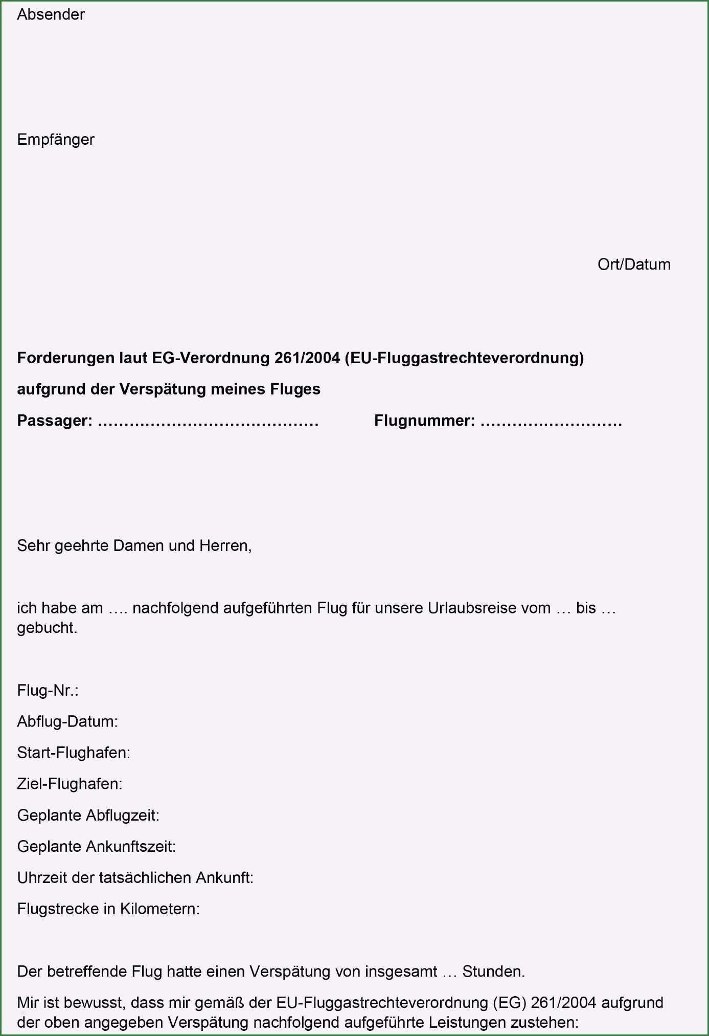 13 Wunderbar Vorlage Erstattung Flugausfall Bilder Vorlagen Word Vorlagen Briefvorlagen