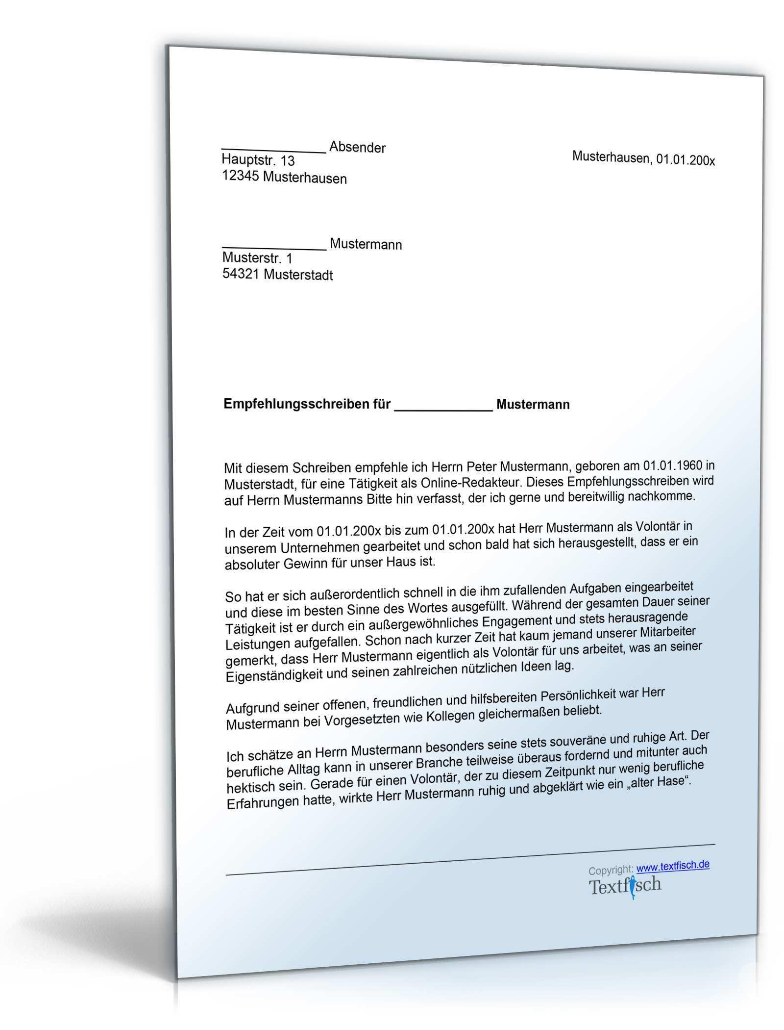 Empfehlung Eines Volontars De Musterbrief Download