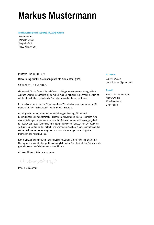 Bewerbungsvorlagen Als Consultant Schlicht Bewerbung2go