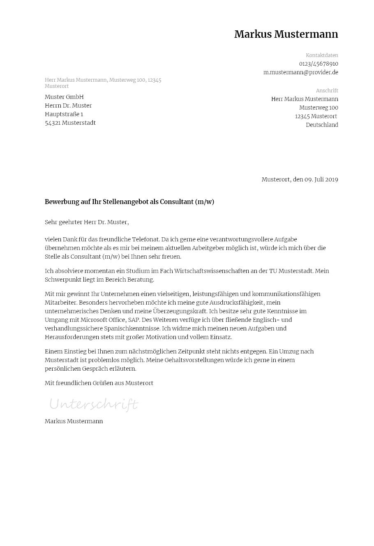 Bewerbungsvorlagen Als Consultant Klassisch Bewerbung2go