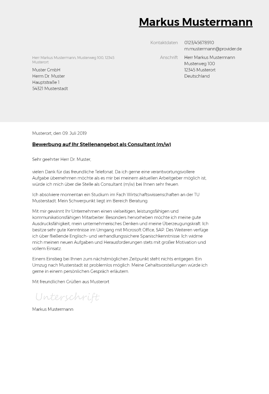 Bewerbungsvorlagen Als Consultant Typographisch Bewerbung2go