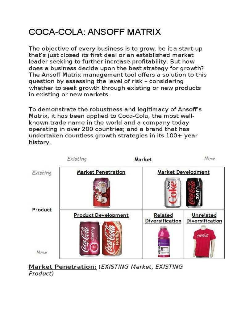 Ansoff Case Study Coca Cola Brand