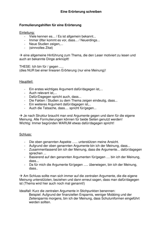 Formulierungshilfen Fur Eine Erorterung Unterrichtsmaterial Im Fach Deutsch Formulierungshilfen Erorterung Satzanfange