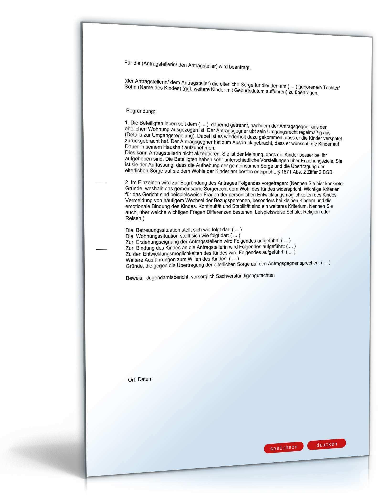 Antrag Auf Alleiniges Sorgerecht Gegen Den Willen Des Antragsgegners Muster Vorlage Zum Download