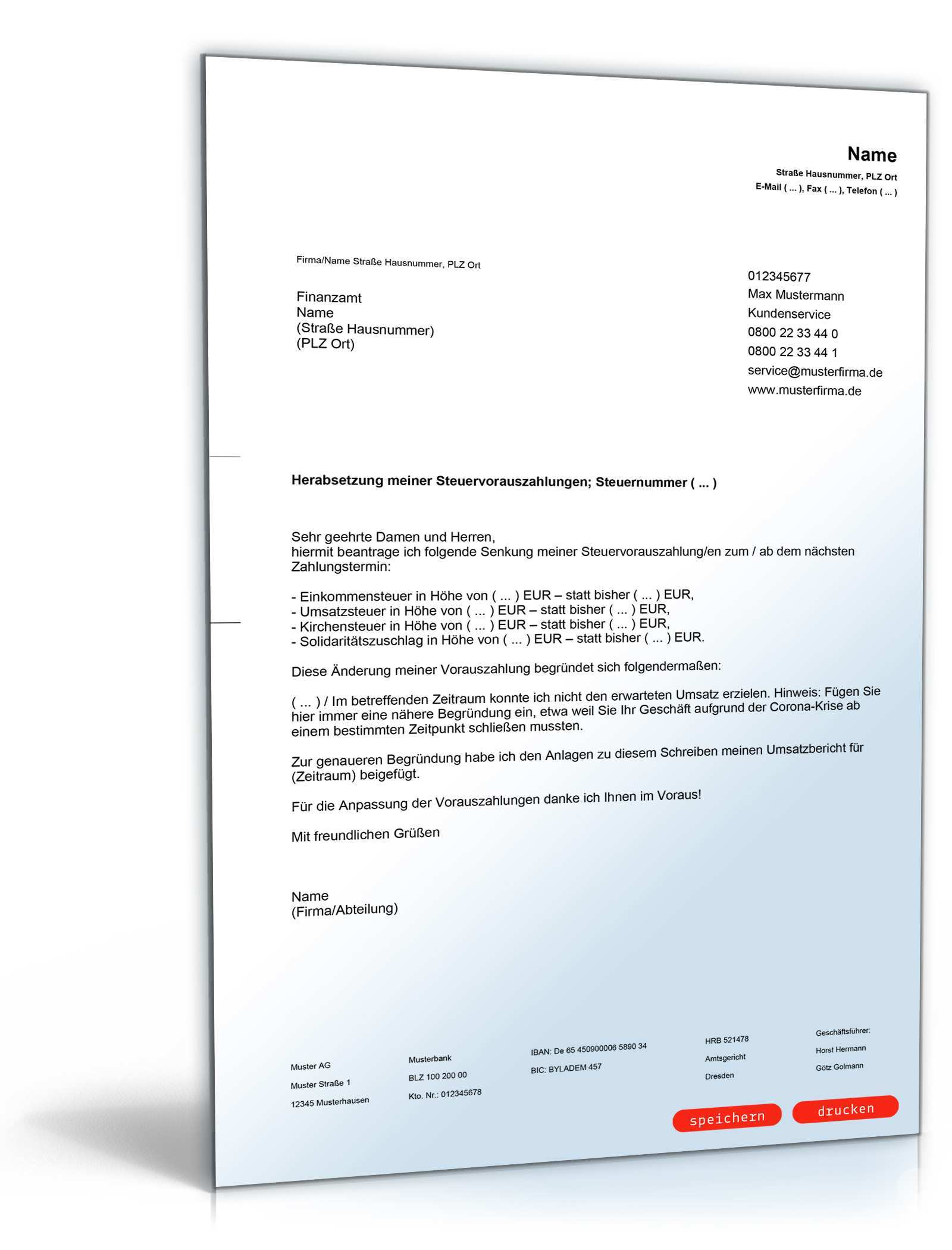 Herabsetzung Steuervorauszahlung Vorlage Zum Download