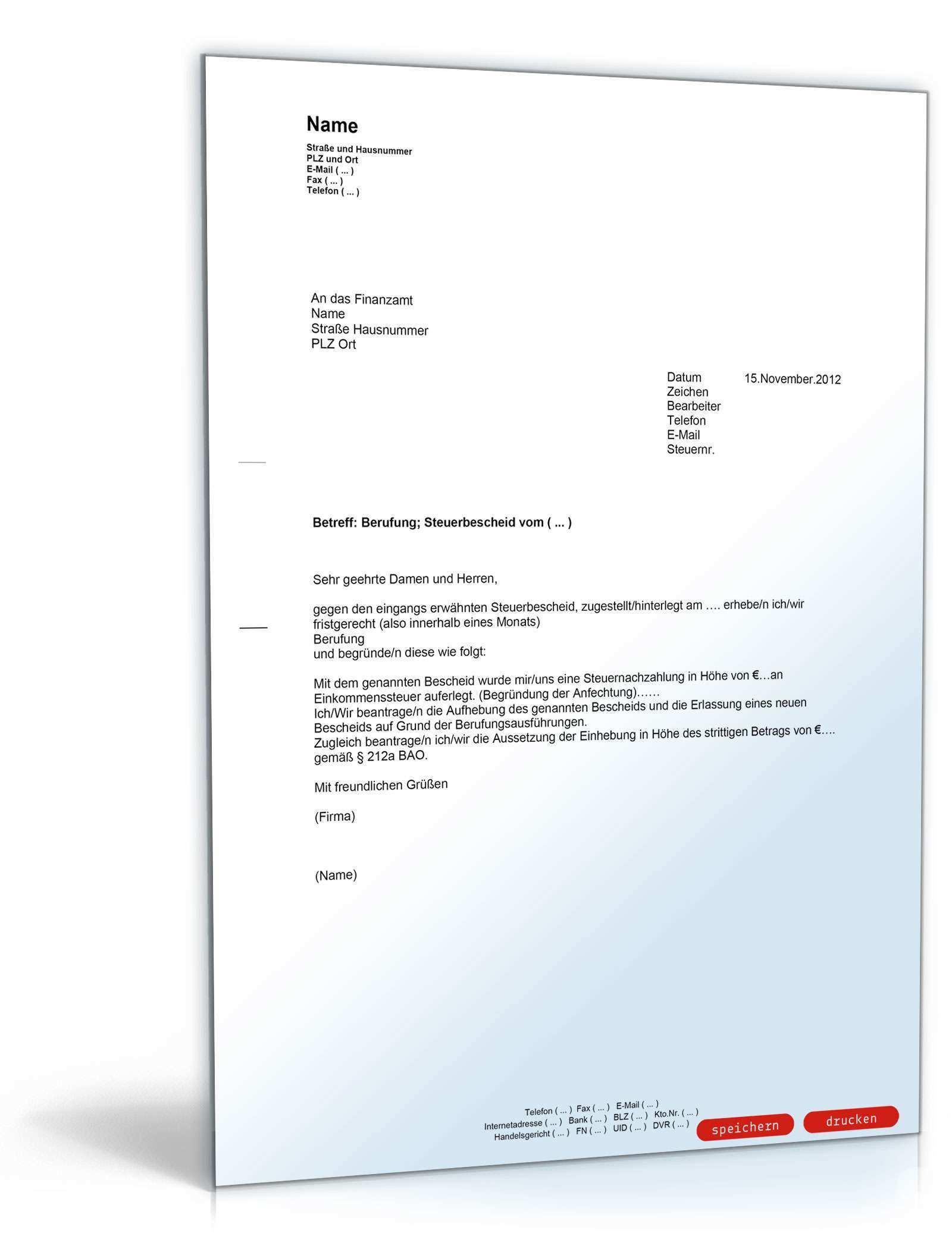 Beschwerde Gegen Einen Steuerbescheid Muster Vorlage Zum Download
