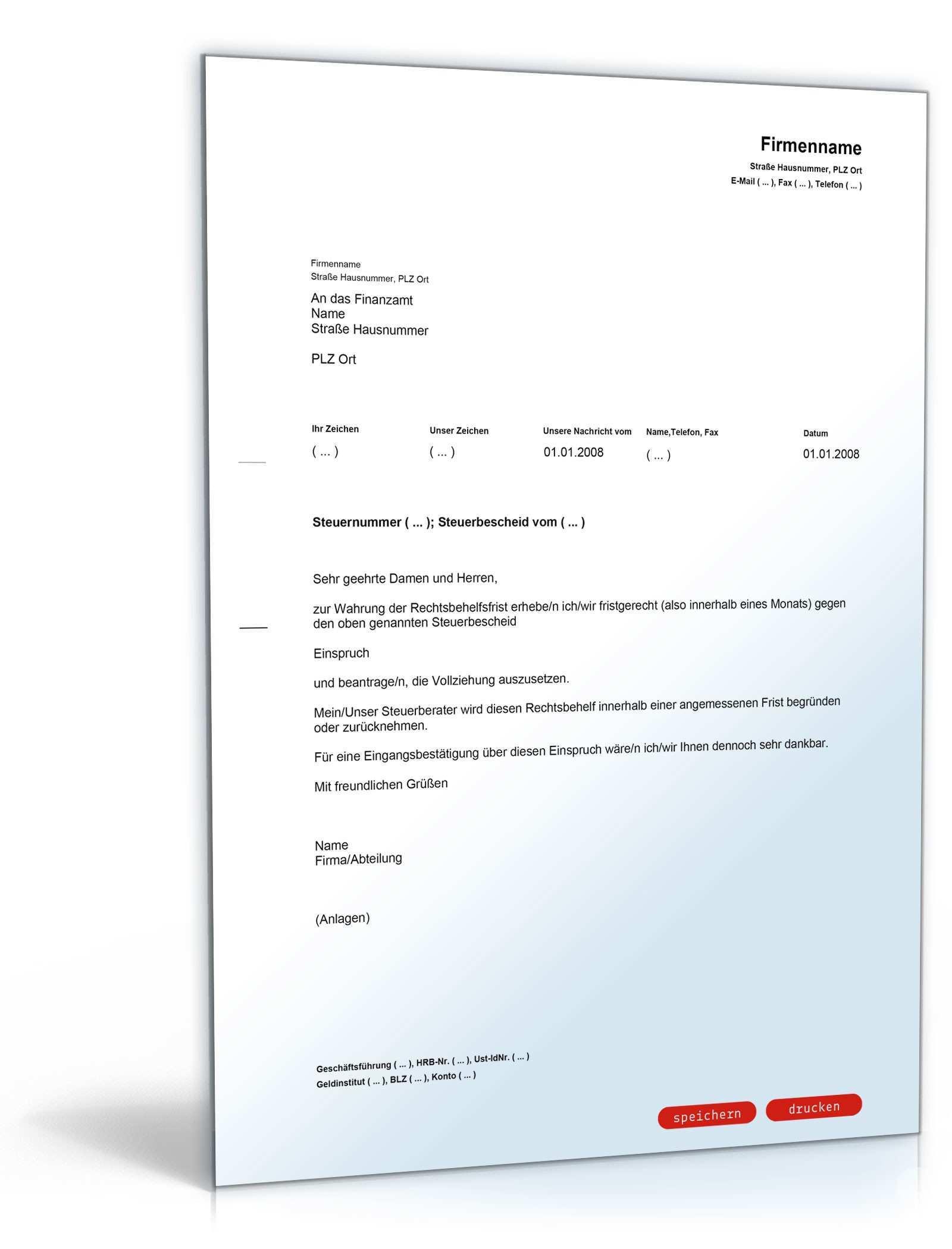 Fristwahrender Einspruch Gegen Steuerbescheid Klarung Durch Steuerberater Muster Vorlage Zum Download