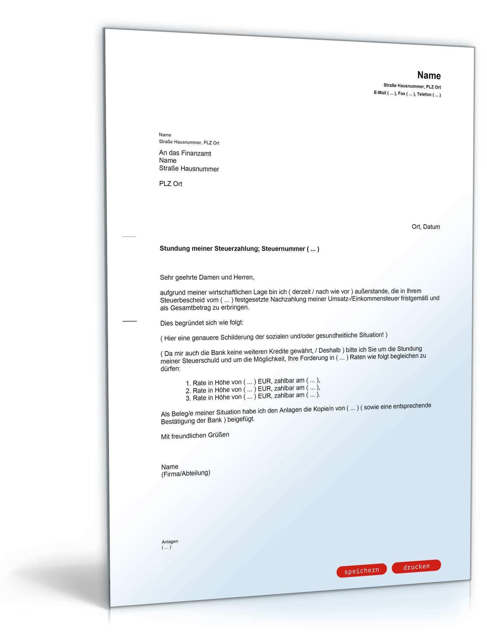 Bitte Um Ratenzahlung Der Steuerschuld Muster Vorlage Zum Download
