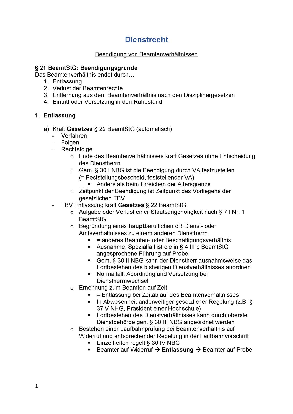 Dienstrecht Beendigung Von Beamtenverhaltnissen Studocu