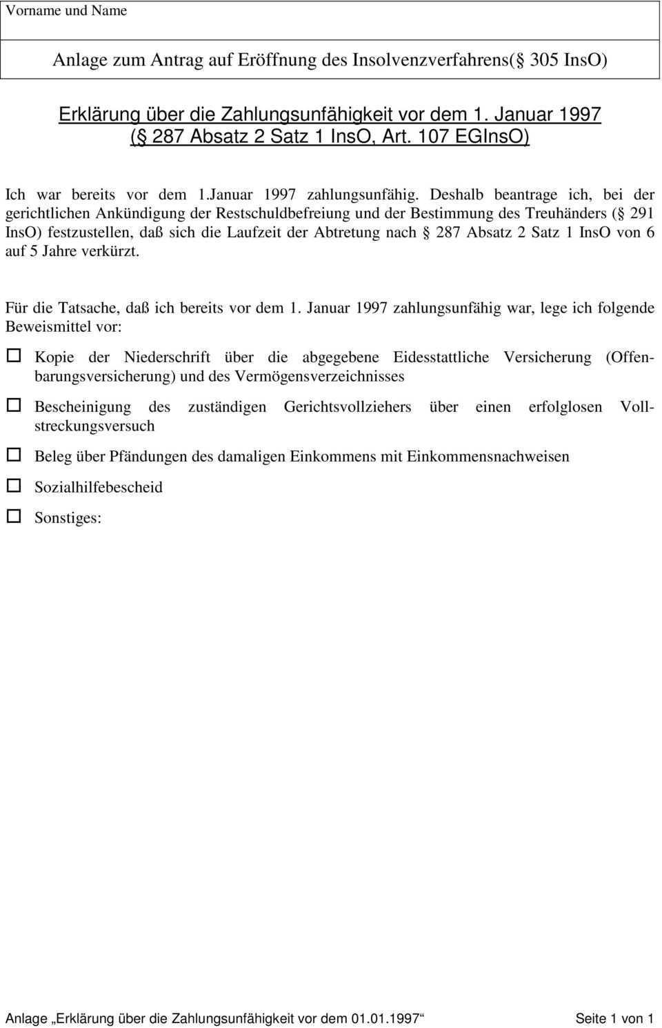 Antrag Auf Eroffnung Des Insolvenzverfahrens Pdf Free Download