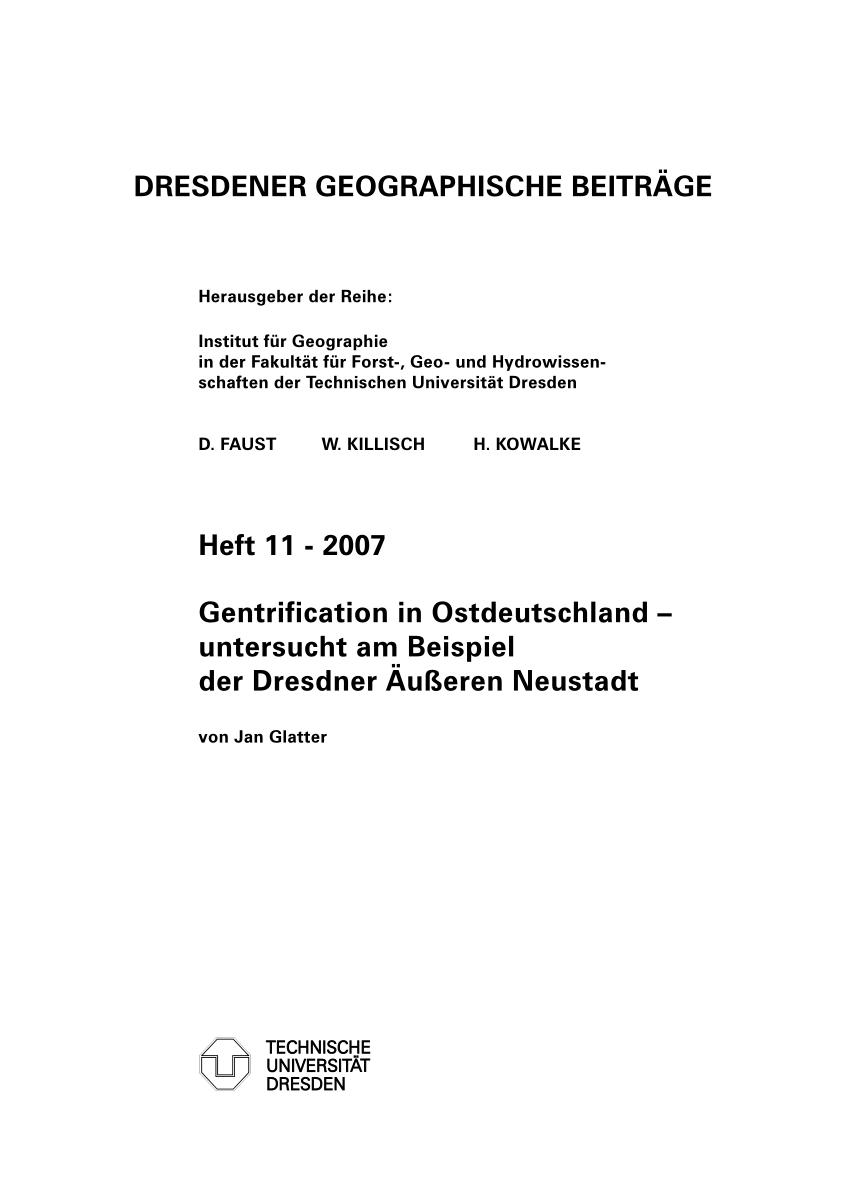 Pdf Gentrification In Ostdeutschland Untersucht Am Beispiel Der Dresdner Ausseren Neustadt