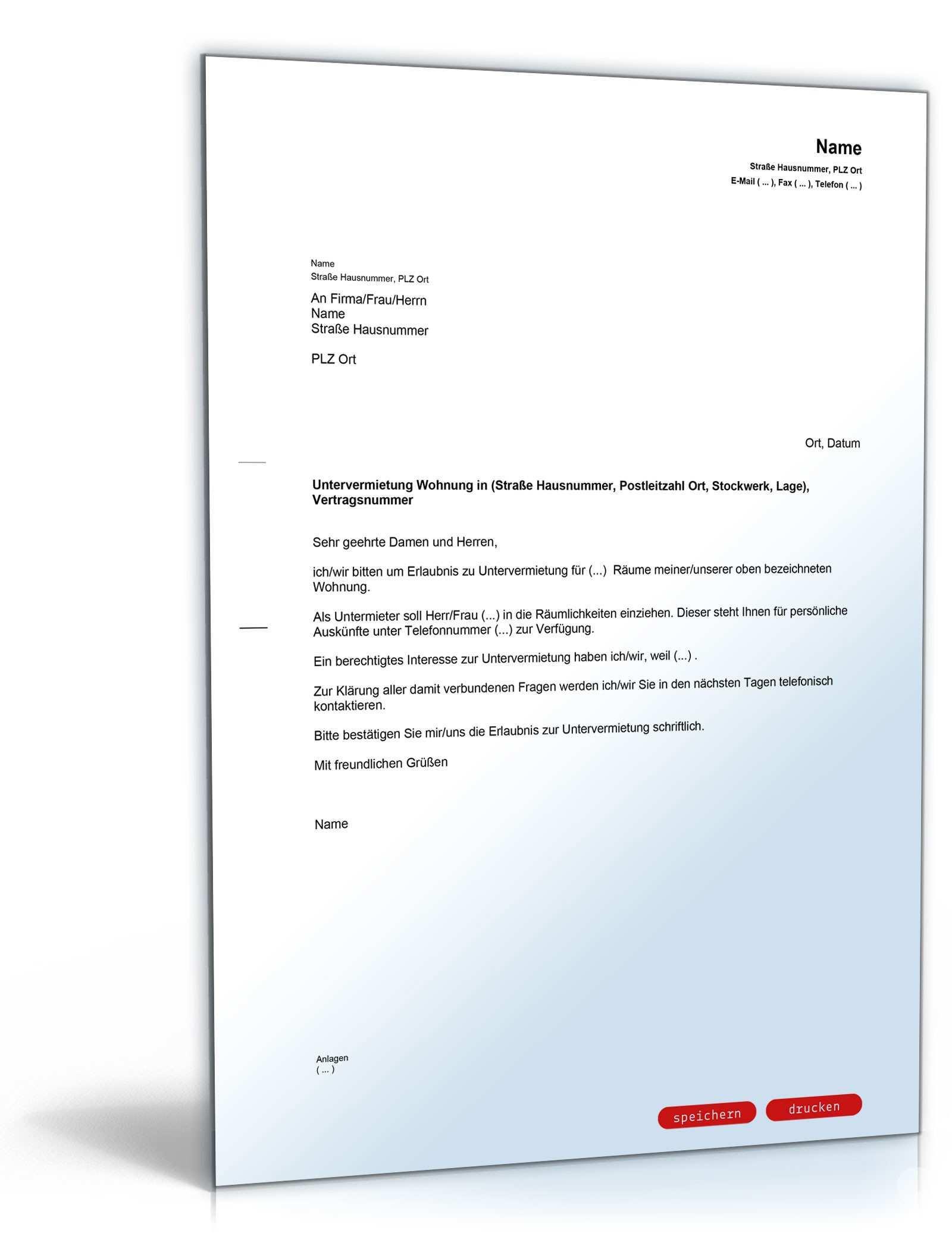 Formloser Antrag Untervermietung Vorlage Zum Download