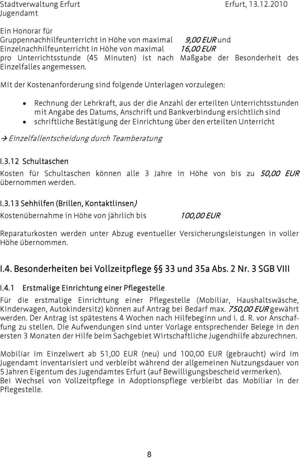 I Richtlinien Zur Gewahrung Von Annex Leistungen Nach Dem Sgb Viii Pdf Free Download
