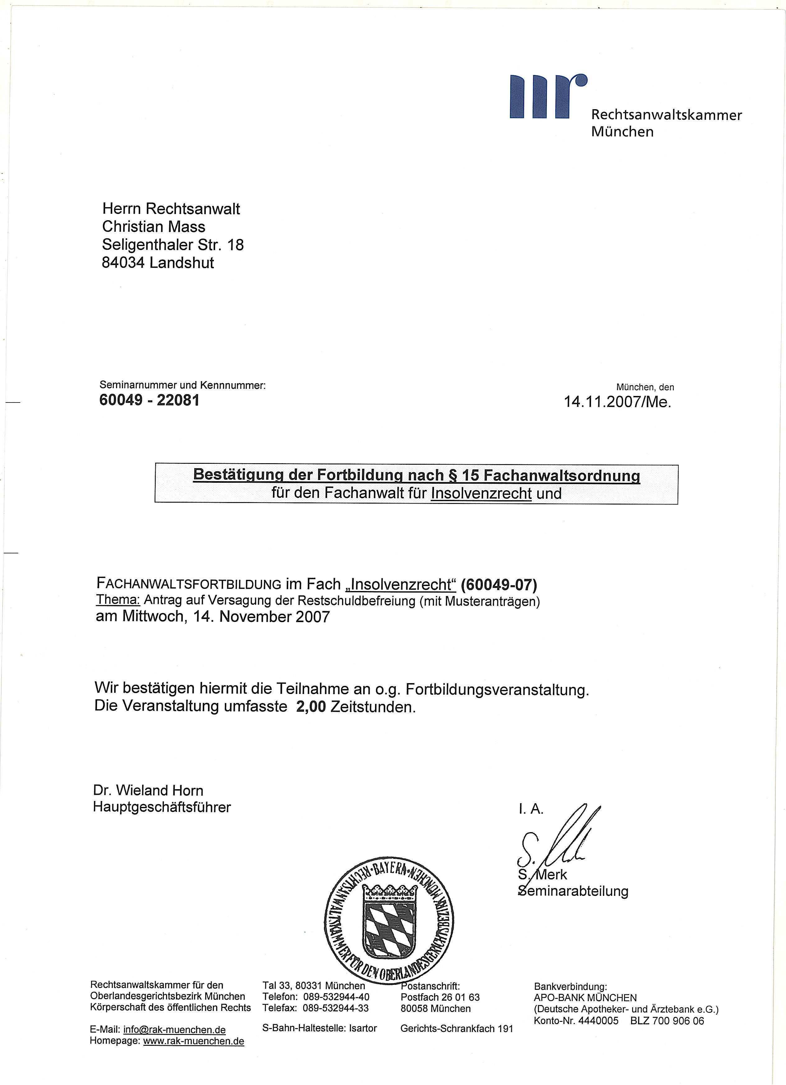 Rechtsanwaltskanzlei Mass 2007 Rechtsanwaltskanzlei Mass In Landshut Hilft Im Arbeitsrecht Insolvenzrecht Mietrecht Vertragsrecht Urheberrecht Schadensersatzrecht Weitere Infos