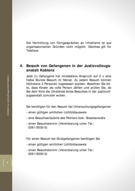 Infoblatt Zur Justizvollzugsanstalt Koblenz Pdf Free Download