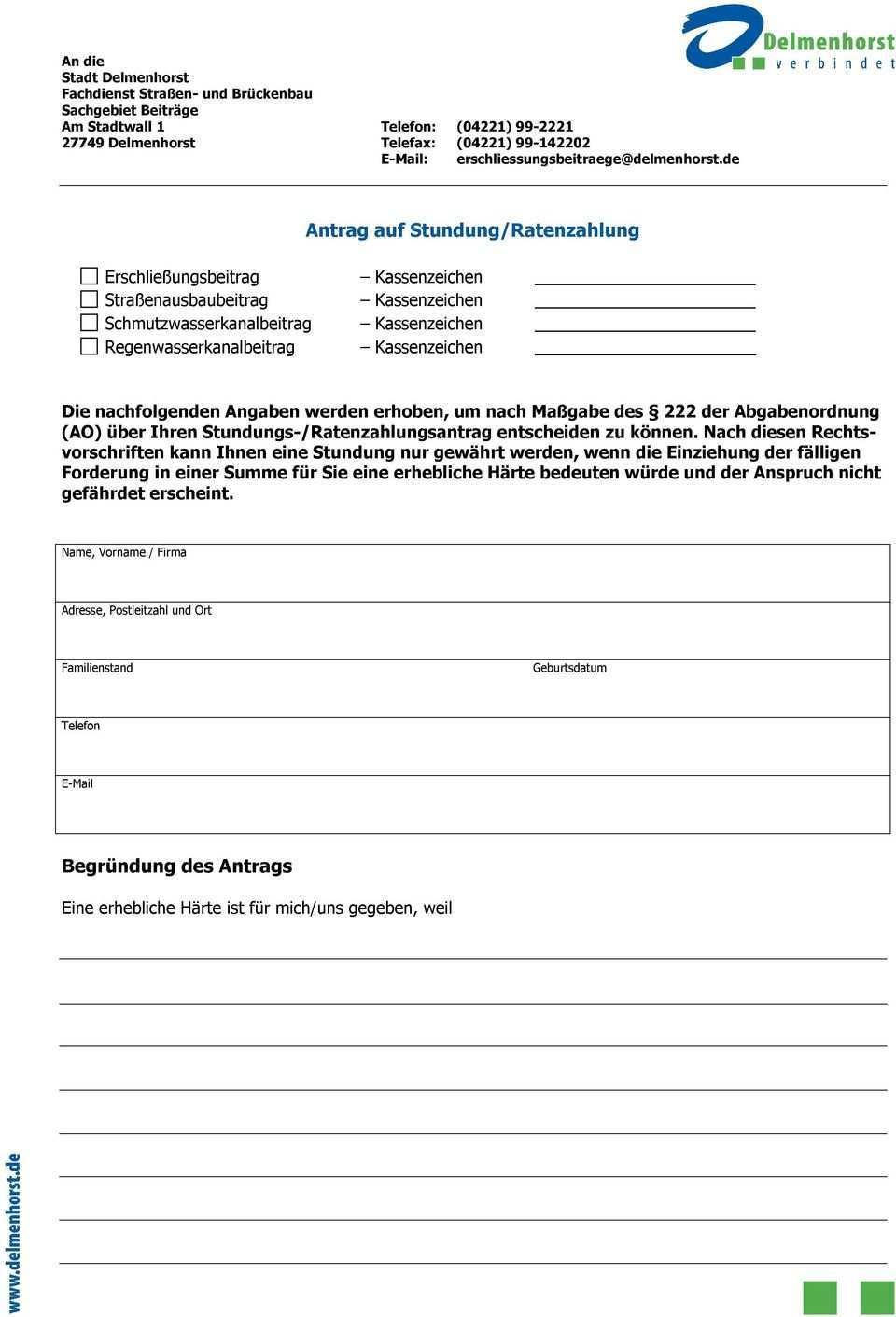 Antrag Auf Stundung Ratenzahlung Pdf Kostenfreier Download