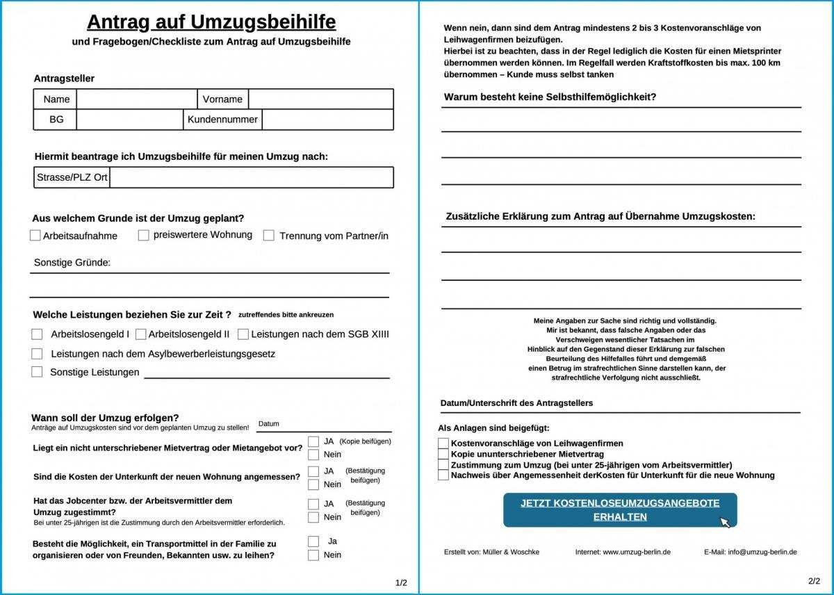 Antrag Auf Umzugskosten Beim Jobcenter Download
