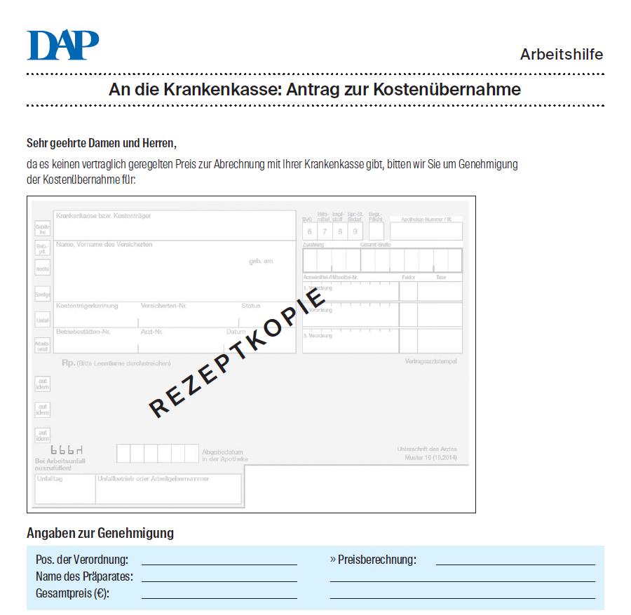 Antrag Zur Kostenubernahme Deutschesapothekenportal