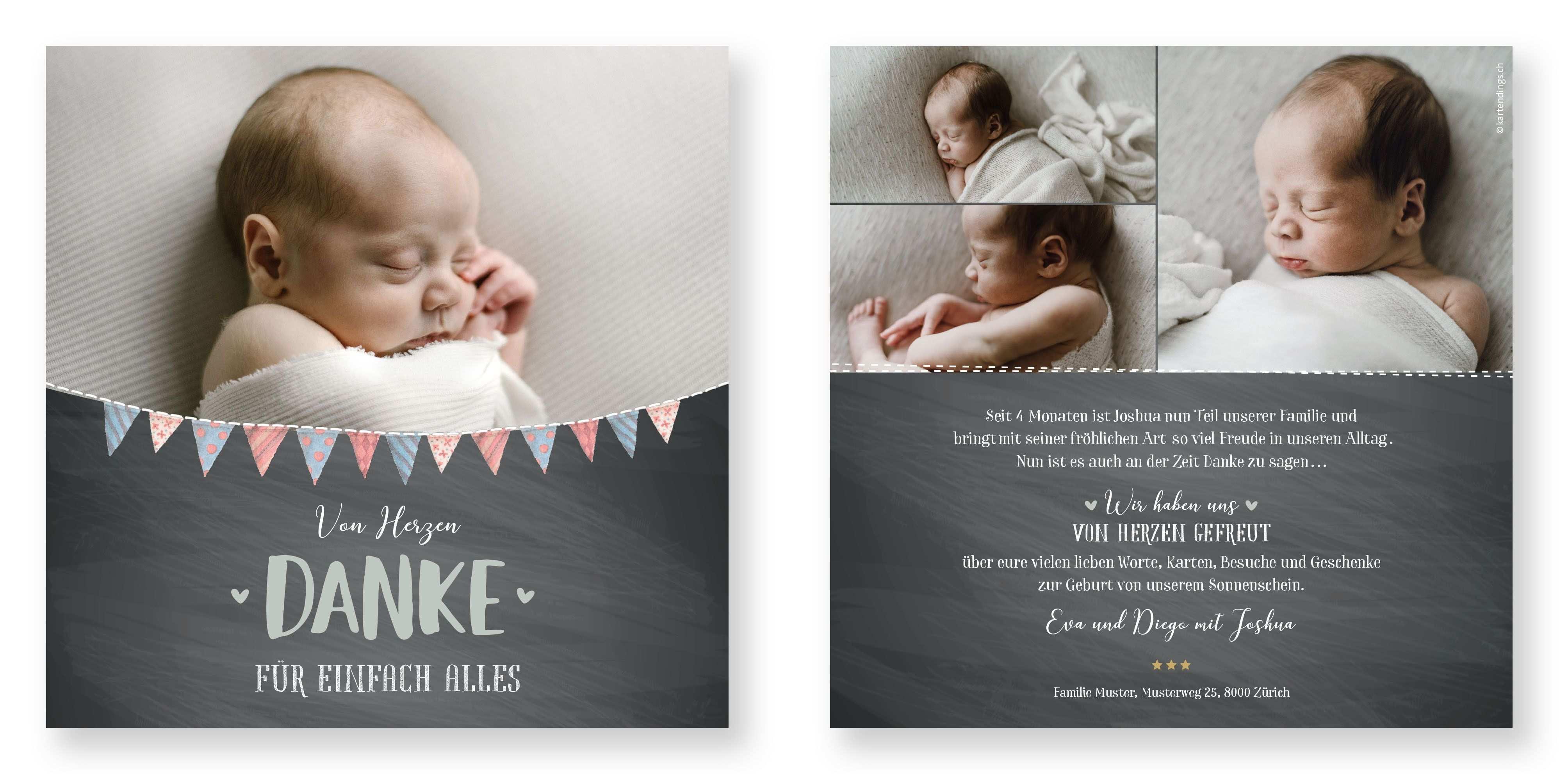 Dankeskarte Joshua Baby Dankeskarten Dankeskarten Danke Karte