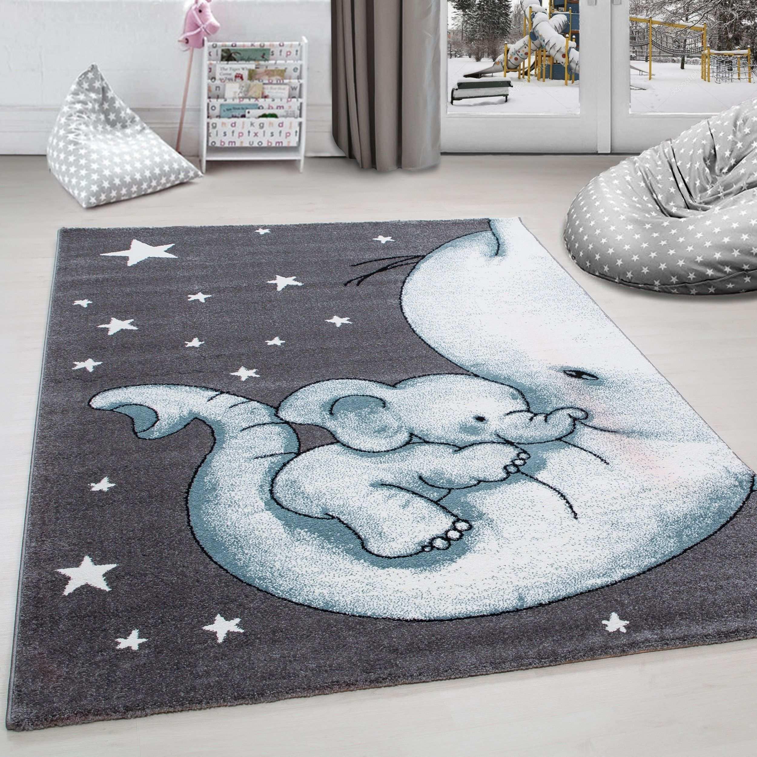 Cocuk Halisi Fil Ve Yildiz Desenli Gri Mavi Beyaz 99 90 Den Baslayan Fiyatlarla Https Www Carpettex Com Cocuk H Yavru Fil Bebek Odasi Kiz Filli Bebek Odasi
