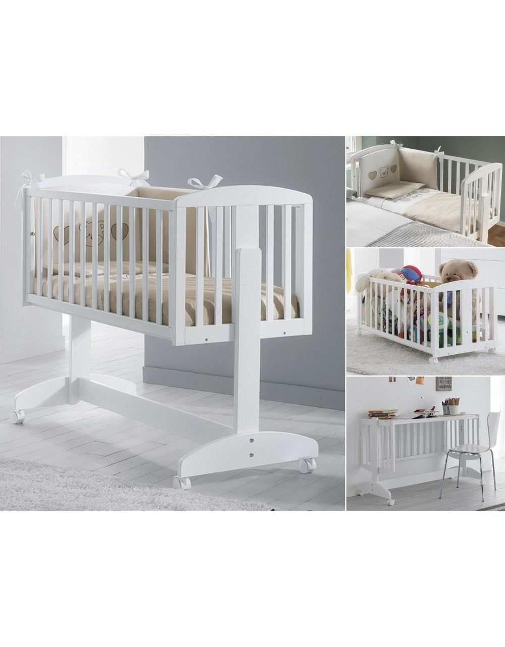 Das Multifunktionsmobel Emmi Ist 5 In 1 Beistellbett Wiege Schreibtisch Spielebox Und Kleiderstange Mehr Funkti Beistellbett Baby Mobel Babywiege