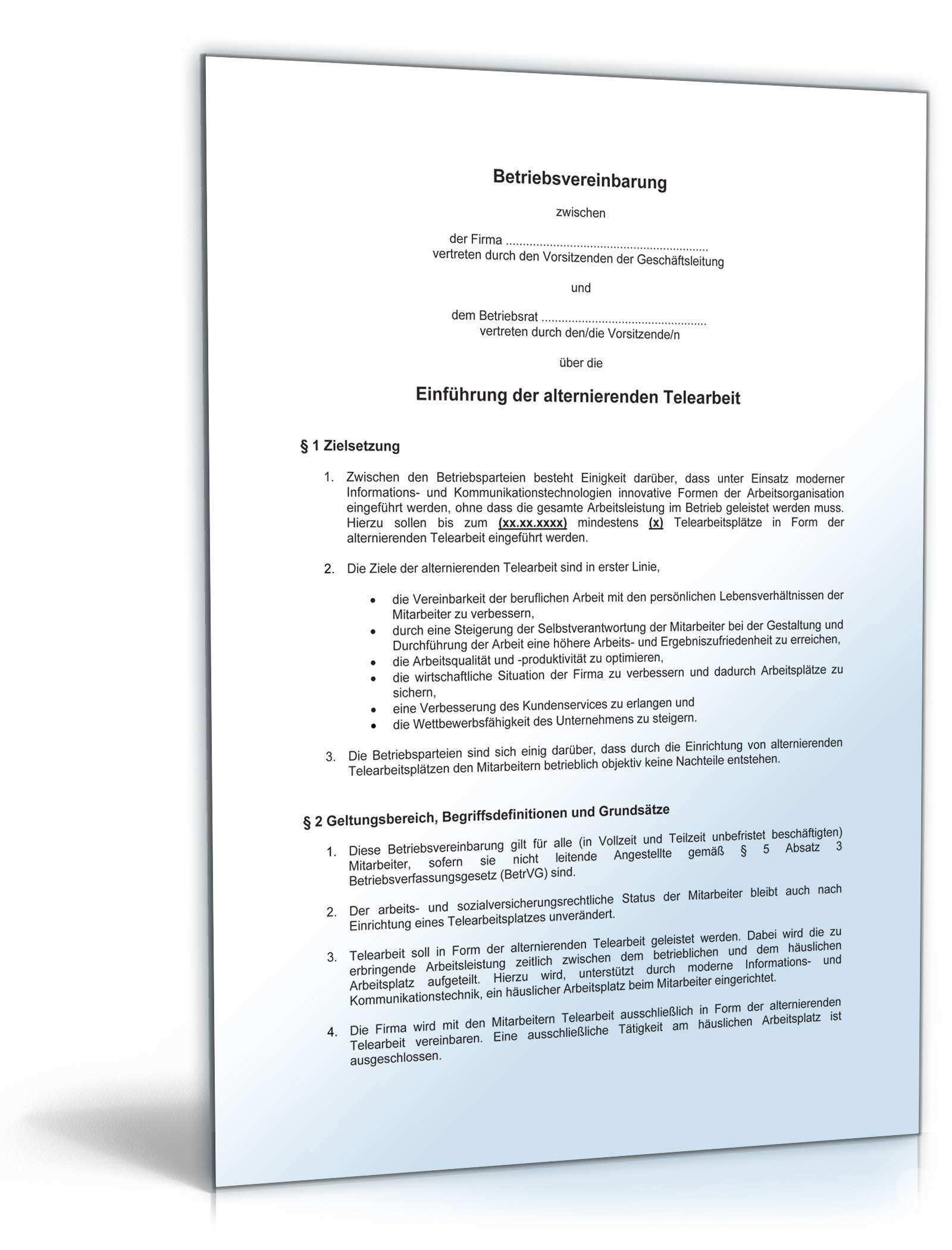 Betriebsvereinbarung Telearbeit Muster Vorlage Zum Download