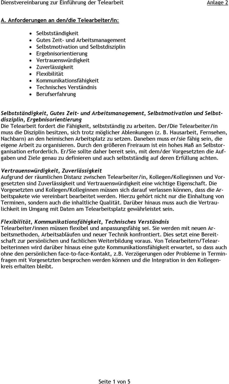 Dienstvereinbarung Zur Einfuhrung Der Telearbeit Anlage 2 Pdf Free Download