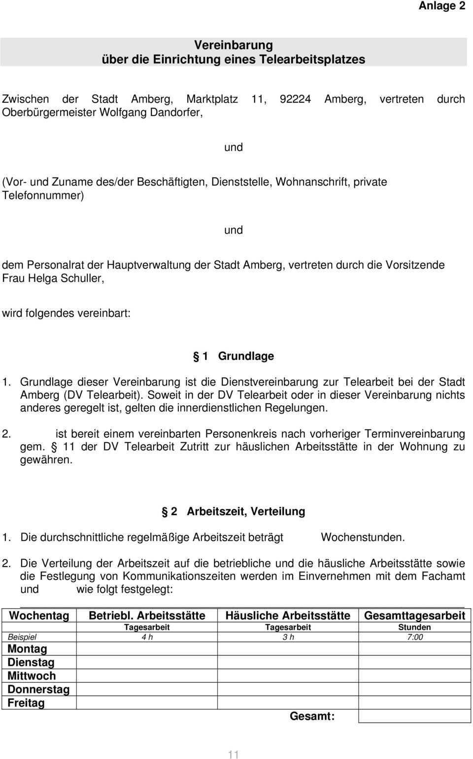 Dienstvereinbarung Zur Telearbeit Bei Der Stadt Amberg Pdf Free Download