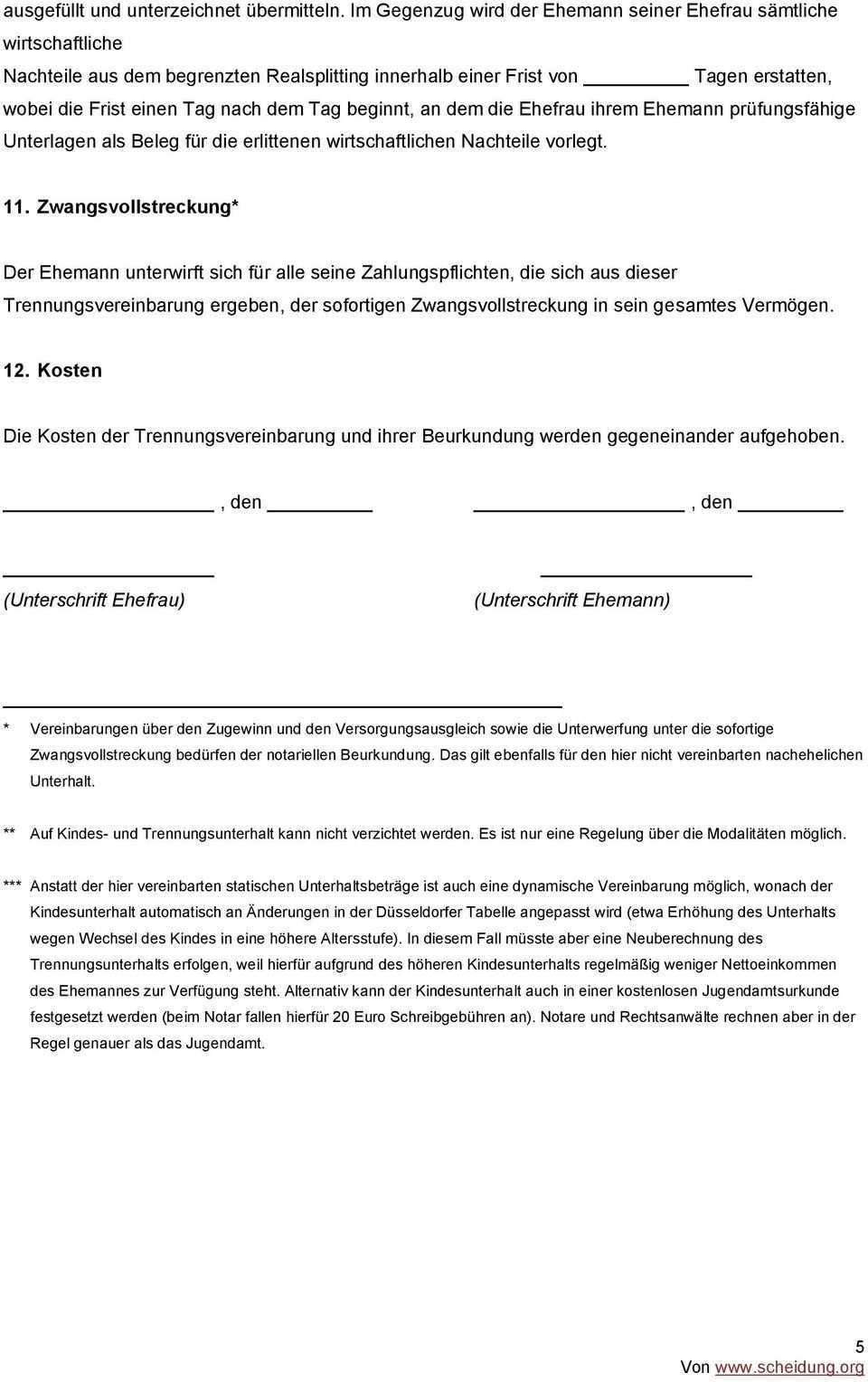 Trennungsvereinbarung Muster Pdf Kostenfreier Download