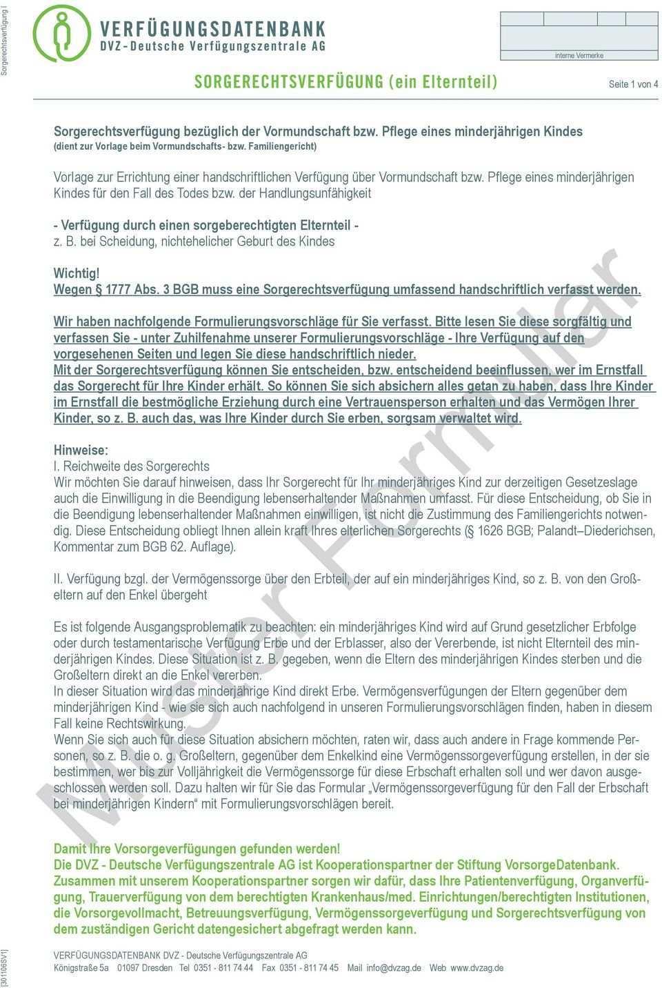 Sorgerechtsverfugung Ein Elternteil Seite 1 Von 4 Pdf Kostenfreier Download